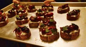 Goat Cheese Bruschetta with Cherries and Mint. (Photo by Anne Marie Sowder-Gorman.)