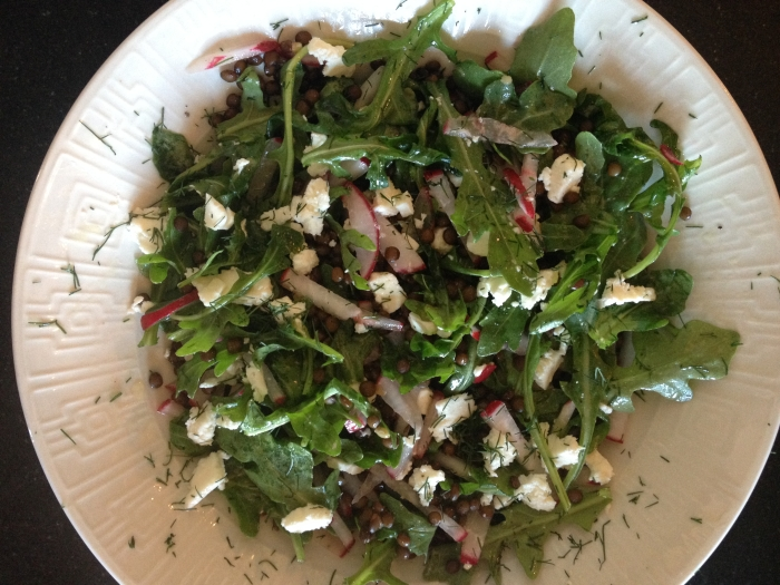 Salad with radishes, arugula, French lentils, feta and our homegrown dill. Photo by Amy Sowder.