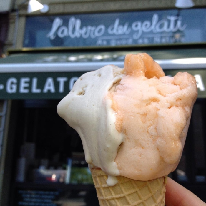 Hazelnut and organic local cantaloupe gelato waffle cone from L'Albero Dei Gelati in Park Slope, Brooklyn, NYC.