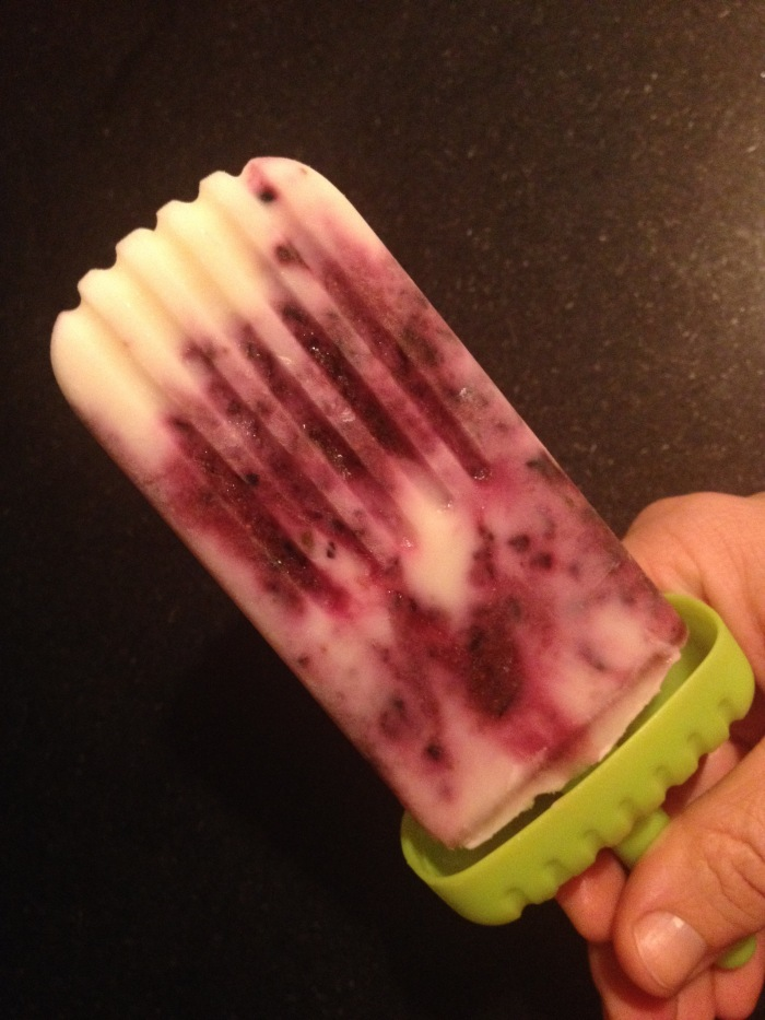 Blueberry basil Greek yogurt popsicle. Photo by Amy Sowder.