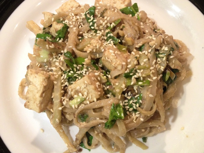 Tofu pad Thai using our homegrown basil. Photo by Amy Sowder.