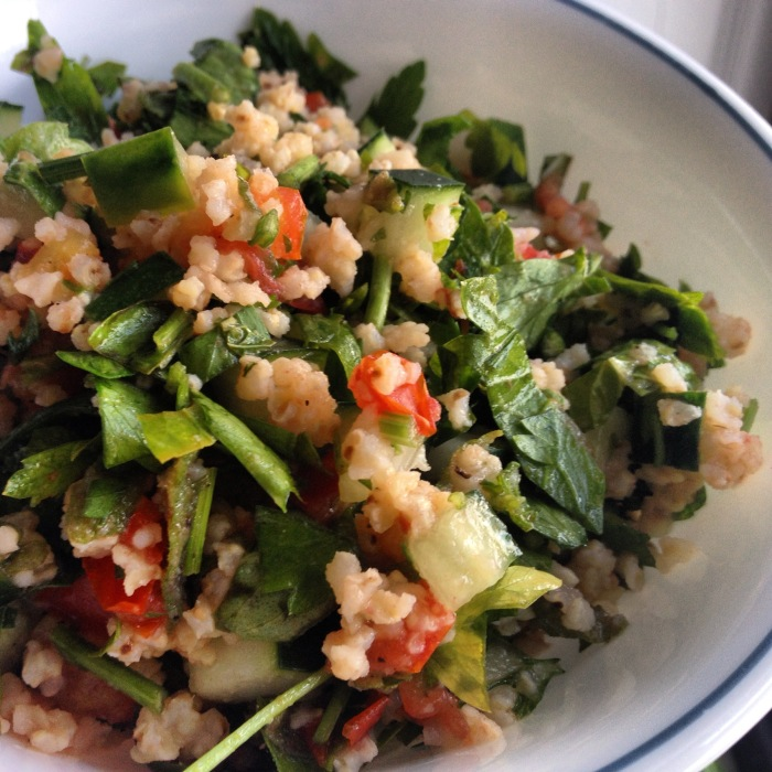 Tabouli salad with homegrown mint, tomatoes and basil. Photo by Amy Sowder.