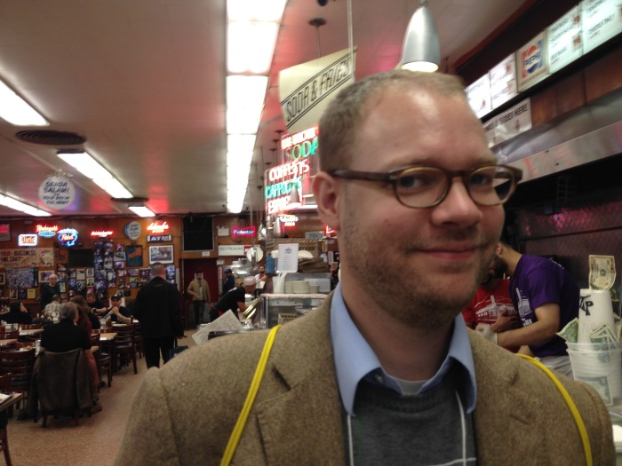 David at Katz's Deli, his version of American fast food. Photo by Amy Sowder.